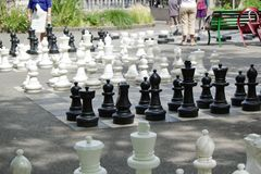 Outdoor chessgame, Geneva, Switzerland Stock Photos