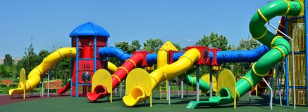 Outdoor children playground. An image of a huge and fun playground outdoor children composite play equipment, a facility at from a park Stock Photography