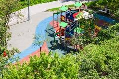 Outdoor children playground in city garden Stock Image