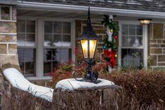 Outdoor Christmas decorations and lantern Royalty Free Stock Image
