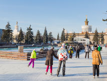 Outdoor Christmas ice rink in Moscow, Russia Stock Photos