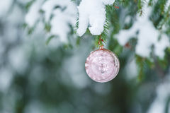 Outdoor Christmas pink sphere mirror bauble Stock Images