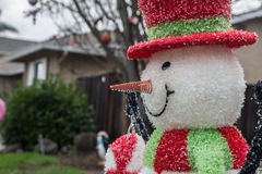 Outdoor christmas snowman Stock Images