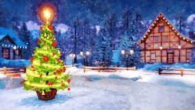 Xmas tree in rural landscape at night watercolor. Outdoor Christmas tree decorated by luminous star and lights garland with blurred rural landscape on background stock photography