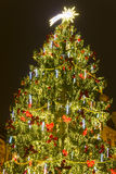 Outdoor christmas tree at Old Towns square with a beautiful commet star on the top of it Stock Images