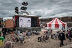 Outdoor Cinema at Banksys Dismaland Bemusement Park. Royalty Free Stock Image