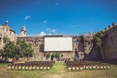 Outdoor cinema in a castle in Italy Royalty Free Stock Photo