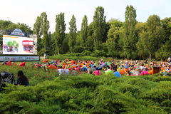 Outdoor cinema in the park Royalty Free Stock Photos