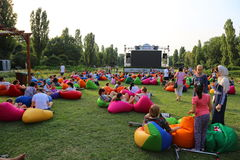 Outdoor cinema in the park. Herastrau at Bucharest, Romania Stock Images