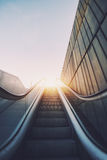 Outdoor city escalator stairway Stock Images
