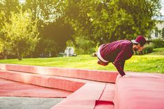 Outdoor city parkour practice jumping on wall royalty free stock images