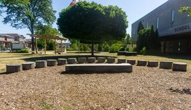 outdoor classroom on school grounds amphitheatre class stage tree stock images