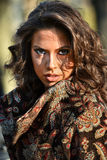 Outdoor close-up portrait of sensual brunette woman. Stock Images