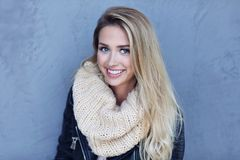 Outdoor close up portrait of young beautiful happy smiling woman royalty free stock photo