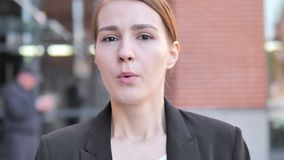 Outdoor Close up of Wondering Young Businesswoman. 4k high quality, 4k high quality stock video