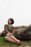 Outdoor closeup portrait of elegant middle aged woman Royalty Free Stock Photo
