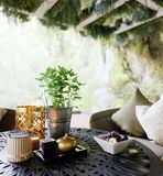 Outdoor closeup with table and chairs photo Royalty Free Stock Images