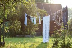 Outdoor clothesline clothespin. Various objects of the summer season in the best of this wonderful period Royalty Free Stock Photo