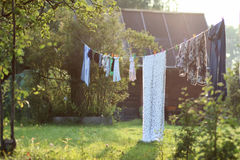 Outdoor clothesline clothespin. Various objects of the summer season in the best of this wonderful period Royalty Free Stock Image