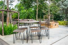 Outdoor coffee corner, outdoor cafe, chairs and tables in coffee shop. An outdoor cooffee shop in Pakchong Nakorn Ratchasima, Thailand royalty free stock image