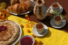 An outdoor composition with tea cups, a tea pot, a plate of pancakes, pastry, ripe fruit and field flowers on a bright table cloth Stock Photos