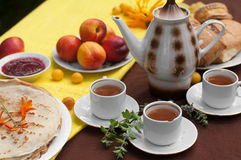 An outdoor composition with tea cups, a tea pot, a plate of pancakes, pastry, ripe fruit and field flowers on a bright table cloth Royalty Free Stock Images