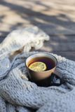 Cup of tea with lemon, knitted scarf near at wood background outdoor. Outdoor composition. White cup with tea and lemon, knitted scarf and nuts near, on wood royalty free stock image