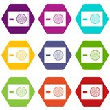 Outdoor compressor of air conditioner icon set color hexahedron Stock Image