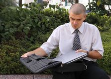 Outdoor computer work Royalty Free Stock Photo