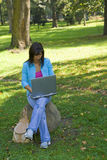 Outdoor computer work. Young woman working on a laptop outdoor in a forest Stock Photos