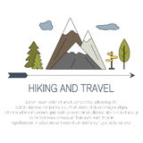 Outdoor concept. Hiking and travel icons with open paths. Vector. Illustration of mountains landscape in flat style Royalty Free Stock Photos
