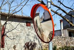 Outdoor convex mirrors Stock Photo