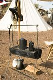 Outdoor cooking 3. Outdoor cooking at a civil war encampment at Picacho Peak State Park Stock Image
