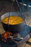 Outdoor cooking, fish soup on fire. Cooking fish soup on fire, outdoor cooking, catering Royalty Free Stock Photography