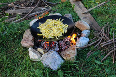 Outdoor Cooking - French Fries Stock Photos