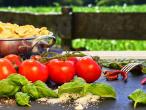 Outdoor cooking. Photo shows pasta ingredients like Orecchiette, basil, tomato, spice, chili,  parmesan... with garden at the background (outdoor cooking Royalty Free Stock Image