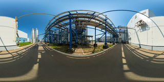 Outdoor coolant pipeline infrastructure panorama. Spherical panorama of outdoor coolant pipeline infrastructure. Full spherical (360 by 180 degree) panorama in Stock Photo