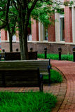 Outdoor courtyard with benches. Outdoor public courtyard in alexandria va Royalty Free Stock Photos