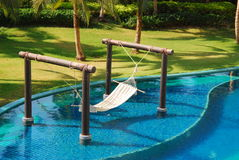 Outdoor cradle and pool in thailand Stock Photography