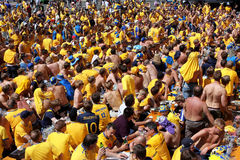 Outdoor crowd of the football fans stock image