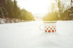 Outdoor cup of tea on a snow during a winter weather, Hot drinks. Natural background. Winter background covered by snow. Outdoor cup of tea on a snow during a Stock Images