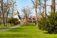 Outdoor of the Czech Castle and village Radun.  stock photography