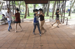 Outdoor dancing in Ho Chi Minh Royalty Free Stock Photo