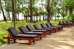 Outdoor deck chairs Stock Photo