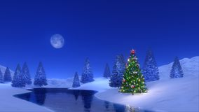 Christmas tree near frozen river at winter night Royalty Free Stock Photo
