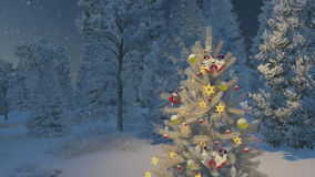 Outdoor decorated christmas tree at night. Dreamlike winter scene. Close-up of decorated Christmas tree among snowy spruce forest at snowfall night. Decorative stock video