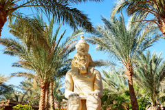 Outdoor decoration with Pharaoh statue at the luxury hotel Stock Images