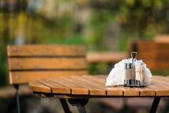 Outdoor Diner Wooden Bench stock photo
