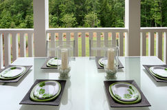 Outdoor Dining. An open air outdoor living/dining space Stock Photo