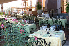 Outdoor Dining. A beautifully decorated outdoor restaurant stock photo